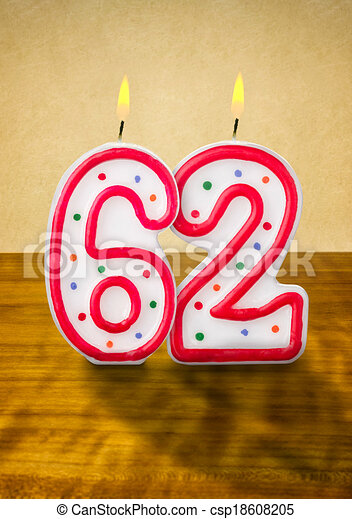 Stock Illustration of Burning birthday candles number 62 csp18608205 ...