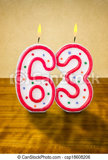 Stock Illustration of Burning birthday candles number 63 csp18608206 ...