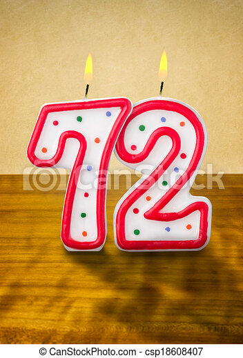 Burning birthday candles number 72 - csp18608407