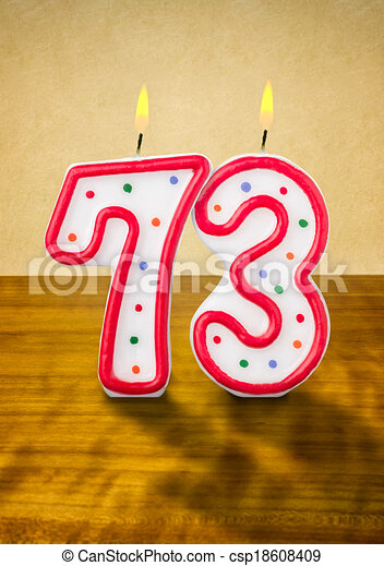 stock illustration of burning birthday candles number 73