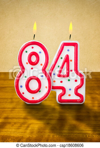 Burning Birthday Candles Number 84 Stock Illustration