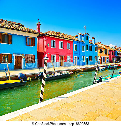 Venice landmark, Burano island canal, colorful houses and boats, Italy. Long exposure photography - csp18609553