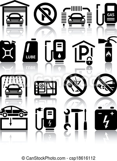 Transport service set of black icons - csp18616112