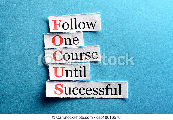 Focus acronym in business concept, words on cut paper hard light
