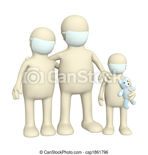 Family in protective masks - csp1861796