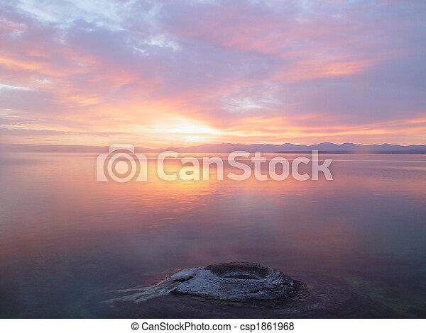 Sunrise and Mountain Lake - csp1861968