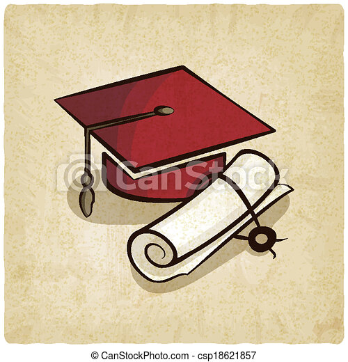 Clipart Vector of Graduation cap and diploma old background ...