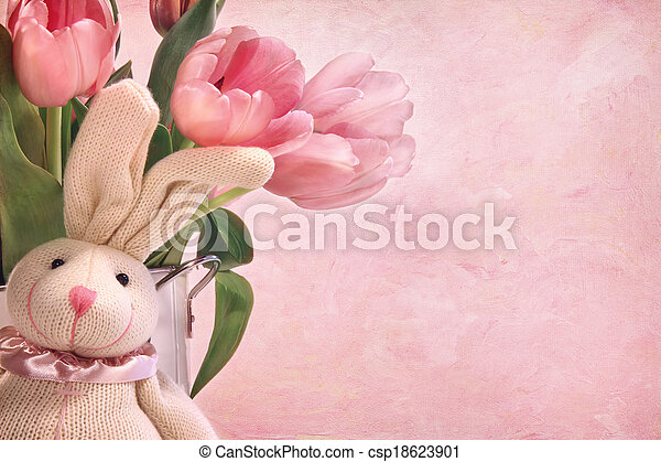 Easter bunny and pink tulips  - csp18623901