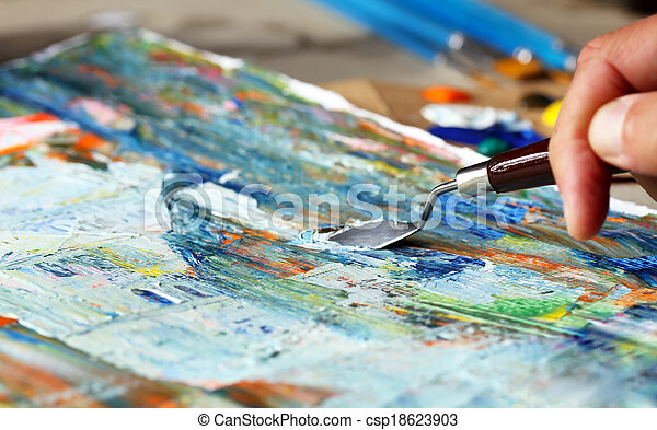 Art painting with palette knife - csp18623903