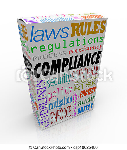 Compliance and related words like safety, regulations, laws and rules to illustrate that a product or merchandise passes all legal requirements and is safe to purchase, buy or consume - csp18625480