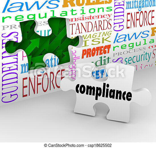 Compliance wall hole and puzzle piece to help you finish complying with important laws, guidelines, regulations, policies and standards in business or other organization - csp18625502