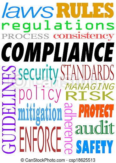 Compliance Word Background Guidelines Laws Standards Policies - csp18625513
