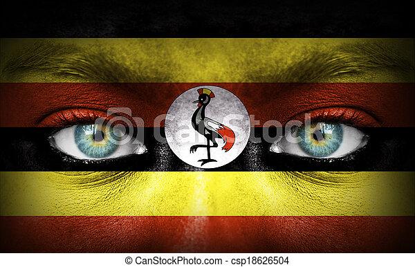 gemalt, Fahne, menschliche,  uganda, Gesicht - csp18626504