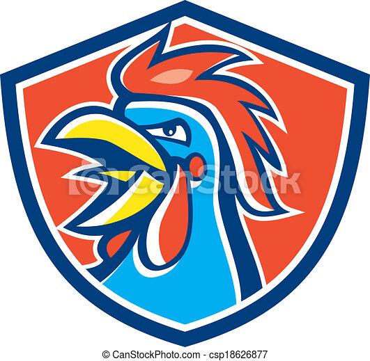 Cockerel Rooster Crowing Head Shield - csp18626877