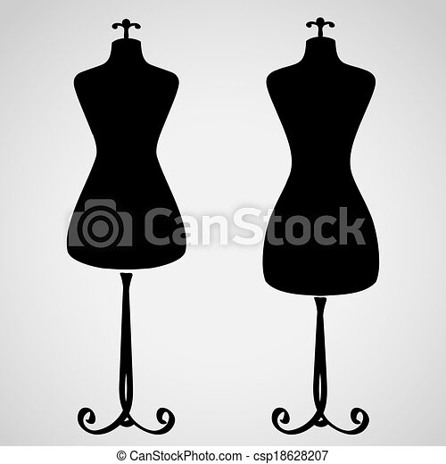 Vector Clipart Of Classic Female Mannequin Silhouette Set Csp18628207