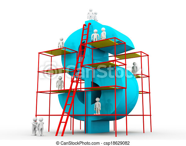 Stock illustration of building a big dollar money making for Free money to build a house