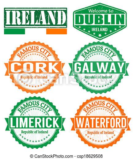 Vector Clipart Of Ireland Cities Stamps Set Of Grunge