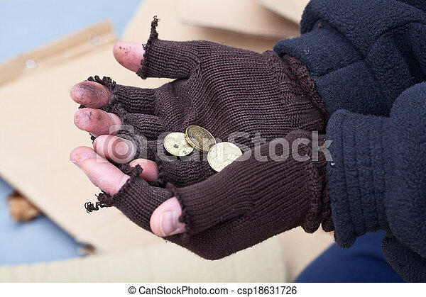 Mans stretching out hands for a money - csp18631726