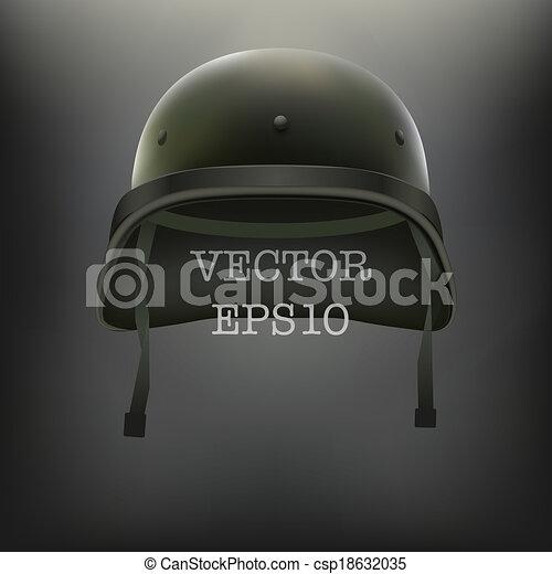 Background of Military green helmet vector - csp18632035