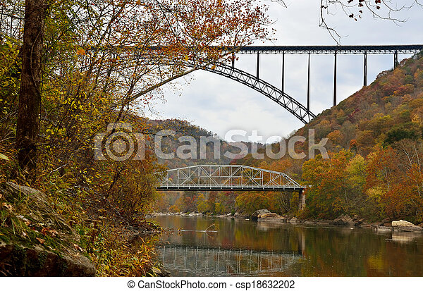 Two bridges over the mountain river in West Virginia - csp18632202