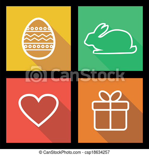 Flat icons for Easter holidays - csp18634257
