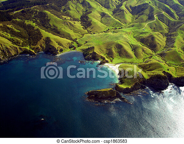 Wrinkled Green Appearance of Hills and Mountains along the coastline of Northland, New Zealand - csp1863583