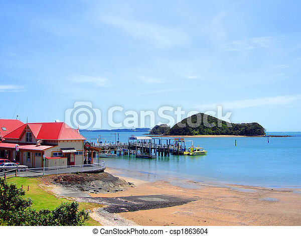 Paihia Tourist Centre, Boat Ramp (foreground) and Wharf, Bay of Islands, New Zealand - csp1863604