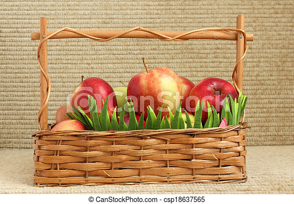 Red apples in a basket