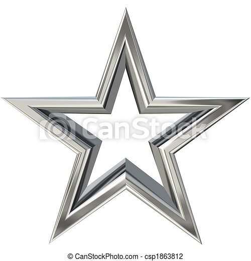 Clip Art of 3D silver star - 3D rendering of silver star ...