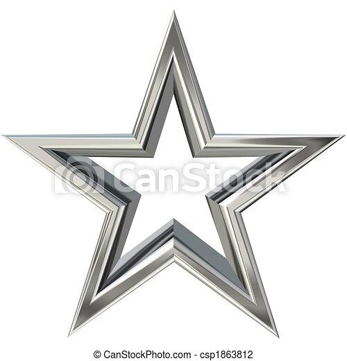 3D silver star - csp1863812