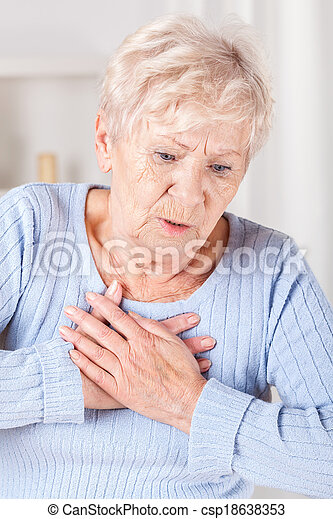 Elderly lady with chest pain - csp18638353