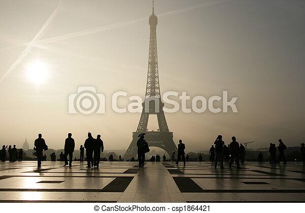silueta, él, Eiffel, torre, parís - csp1864421