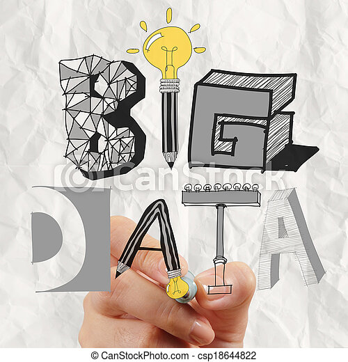 business hand drawing graphic design BIG DATA word as concept - csp18644822