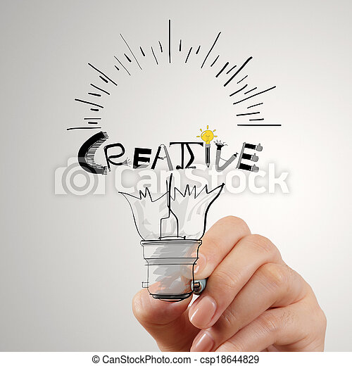 hannd drawing light bulb and CREATIVE word design as concept - csp18644829