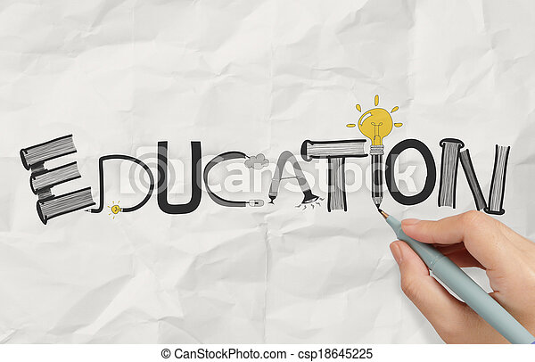 Amarrotado, gráfico, palavra, negócio, mão, papel, conceito, desenho, Educação, desenho - csp18645225