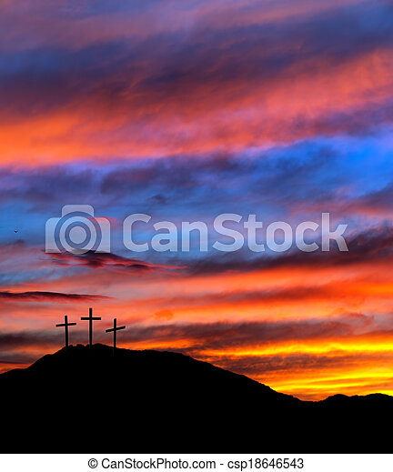 Easter sunset sky with crosses - religious Christian background - csp18646543