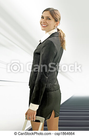 businesswoman in the airport - csp1864664