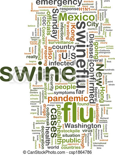 Swine flu wordcloud - csp1864786