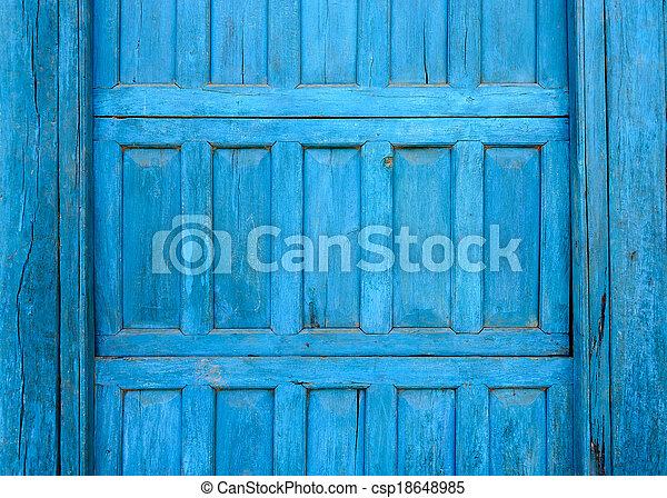Blue wooden door detail - csp18648985