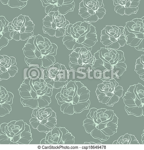 Floral blue green vector pattern - csp18649478