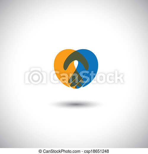hands together - concept vector of partnership, meeting, greeting. This graphic illustration also represents company employees meeting, corporate partnership, love & passion, heart icon - csp18651248