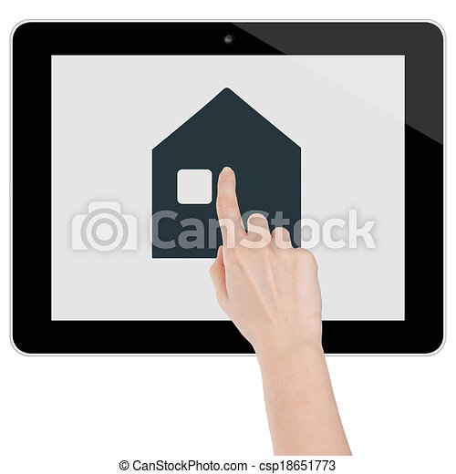 Hand touching a big house home icon on a tablet - csp18651773
