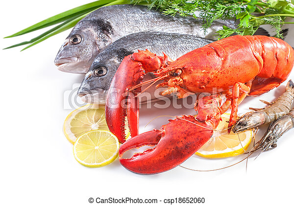 sea food on white background - csp18652060