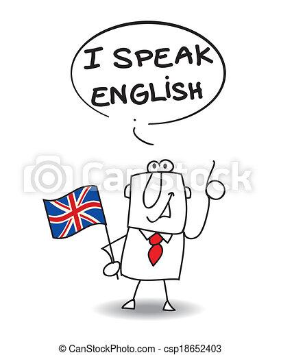 Vector Clipart Of I Speak English This Businessman Speak
