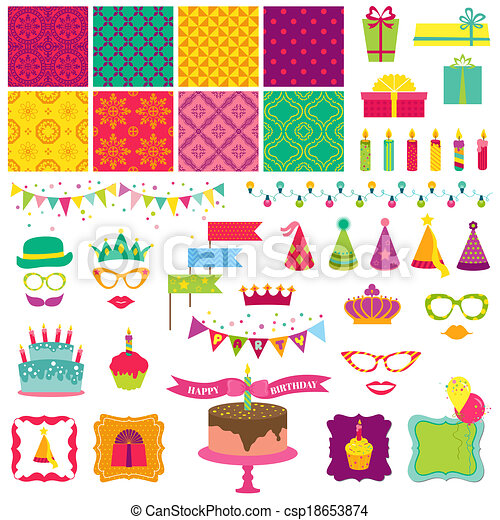 Scrapbook Design Elements - Happy Birthday and Party Set - in vector - csp18653874