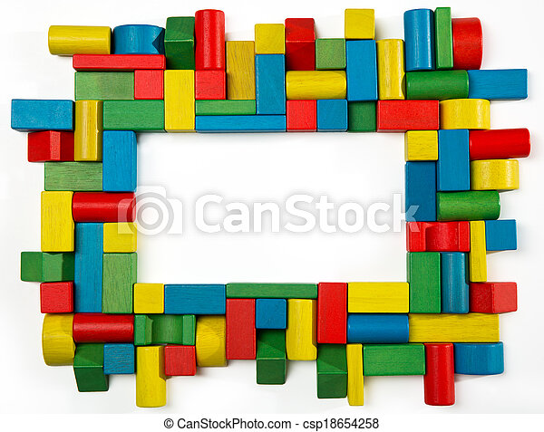 Toys blocks frame, multicolor wooden building bricks, group of colorful game pieces - csp18654258