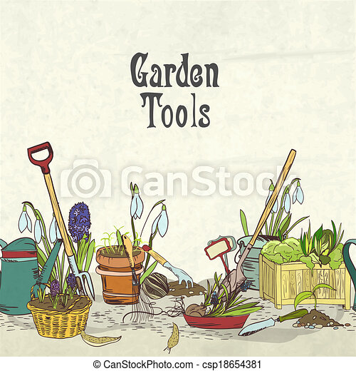 Vector of Hand drawn gardening tools album cover border or ...
