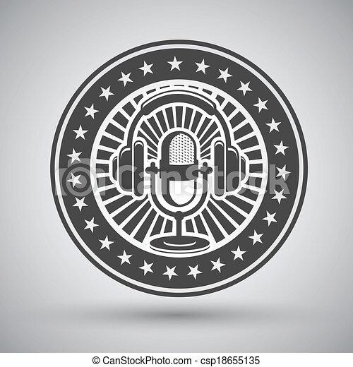 Retro microphone and headphones emblem - csp18655135