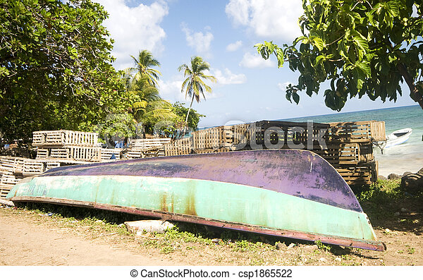 boat panga lobster traps nicaragua - stock image, images, royalty free ...