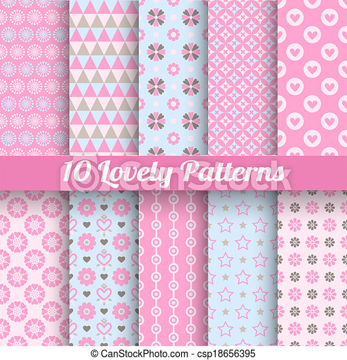 Lovely vector seamless patterns (tiling, with swatch). - csp18656395